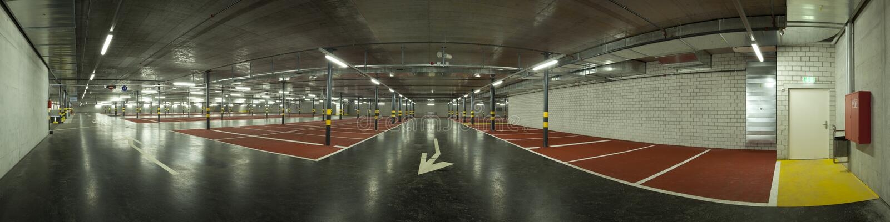 Large underground parking royalty free stock photography
