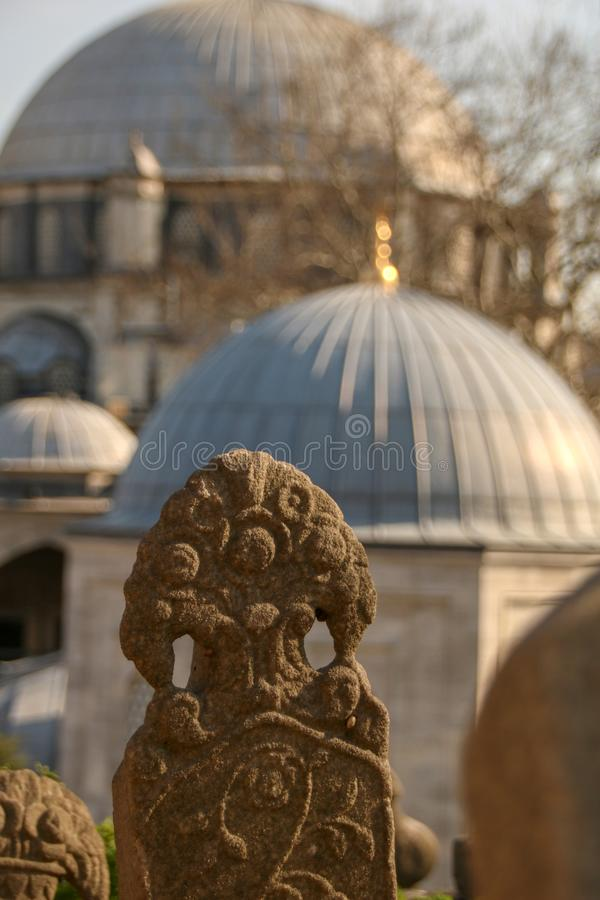 Ancient tomb stone, the Ottoman period, Turkey stock photo