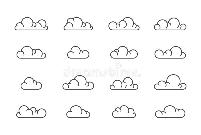 Large vector cloud icons line set royalty free stock photography