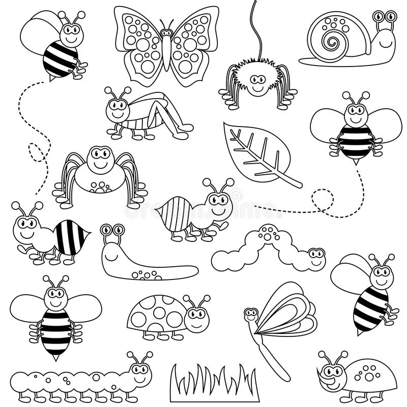 Free Large Vector Set Of Cute Cartoon Bugs Line Art Stock Photo - 42390790