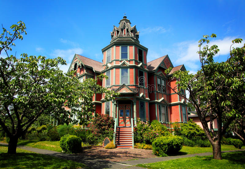 Large Victorian Mansion stock photo
