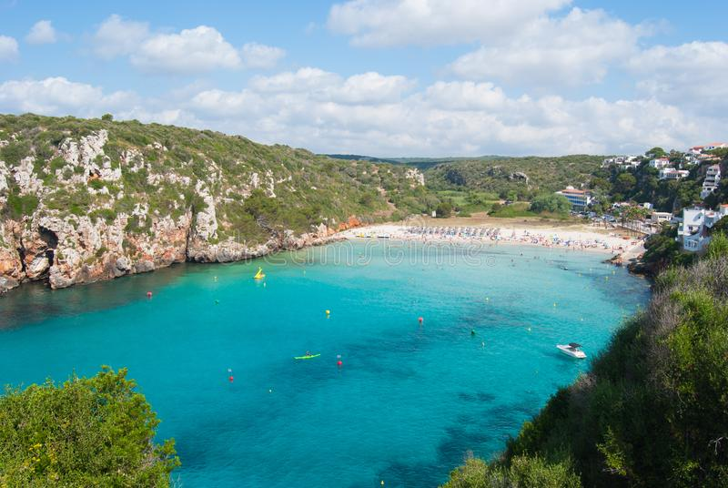 Large view of the beach of En Porter cove in Menorca island stock images