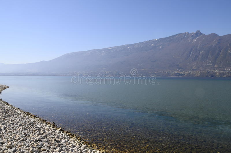 Large view of Bourget lake in Savoy, France. Panorma of Bourget lake and mountains in Savoy, France stock photography