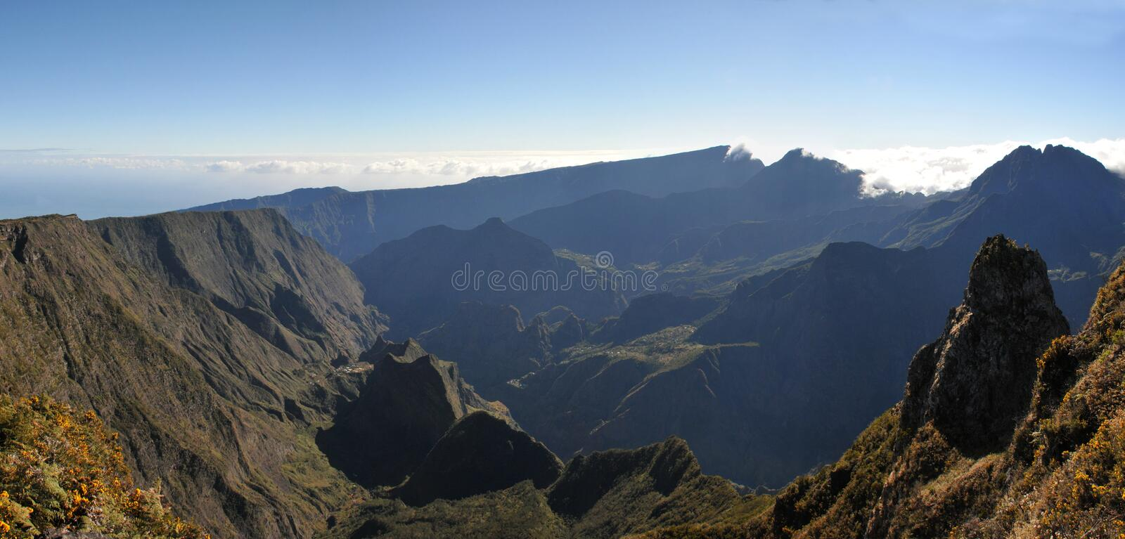 Large View of Silaos Cirque of Reunion Island in the morning light stock photo