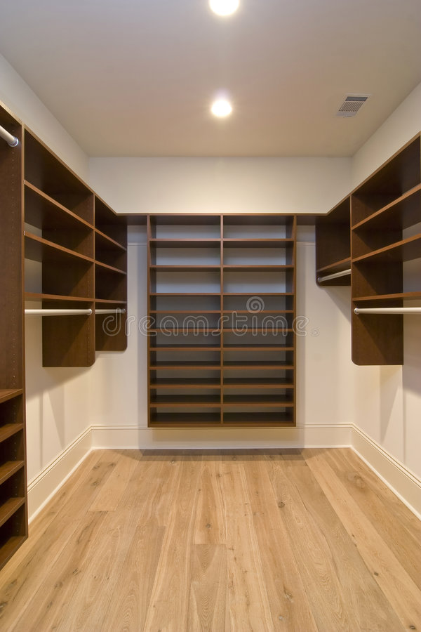 Download Large walk in closet stock photo. Image of wood, walk - 4505856