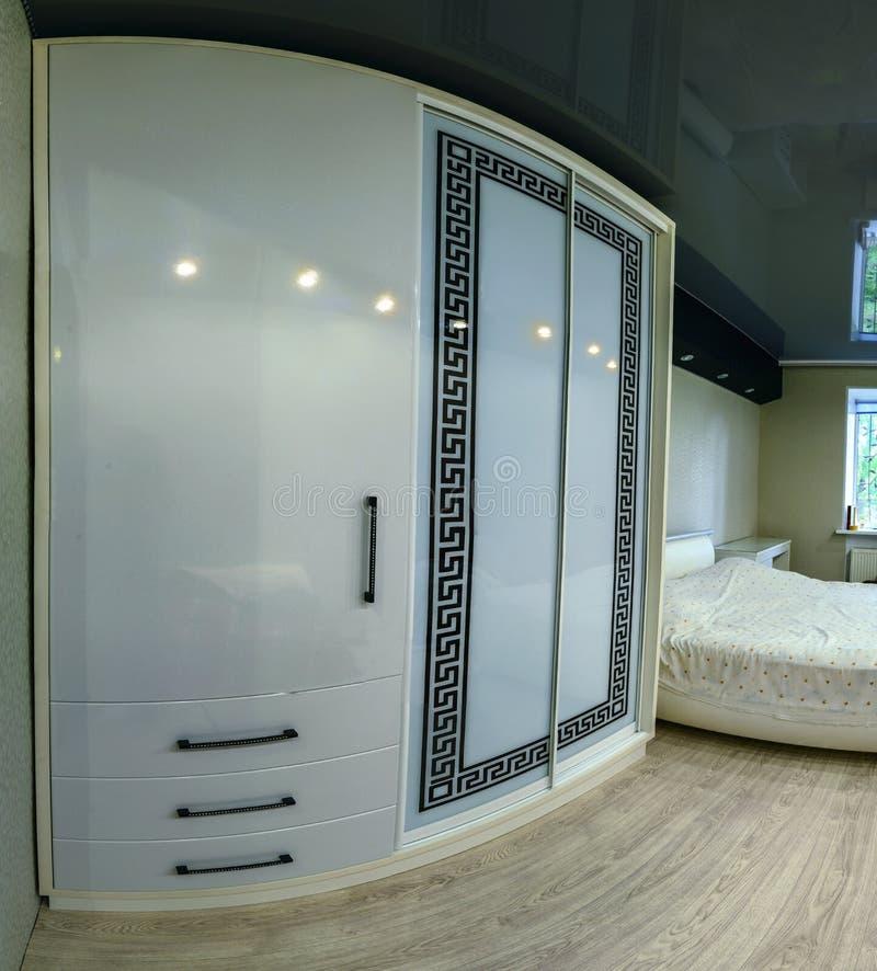 White Sliding Wardrobe With Glass Sliding Doors Stock Photo Image