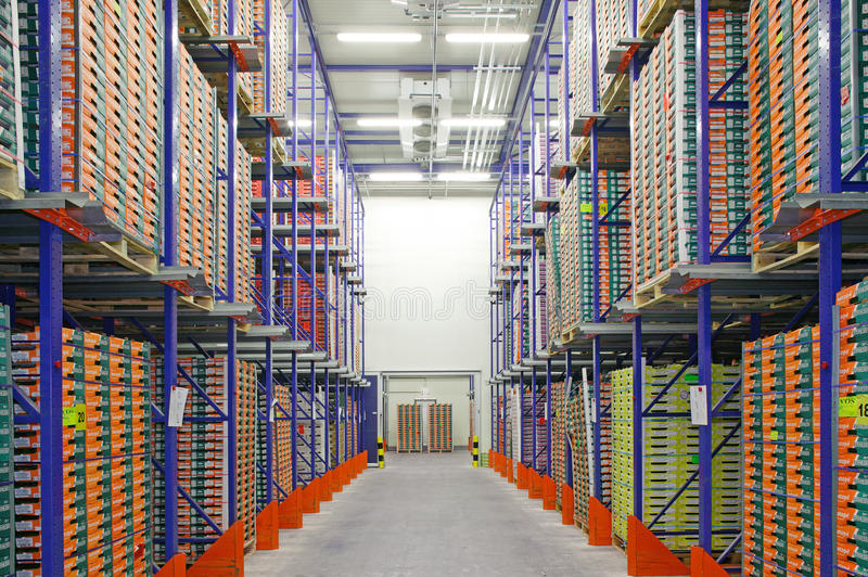 Large warehouse. Large modern warehouse filled with crates for fruits and vegetables royalty free stock photos