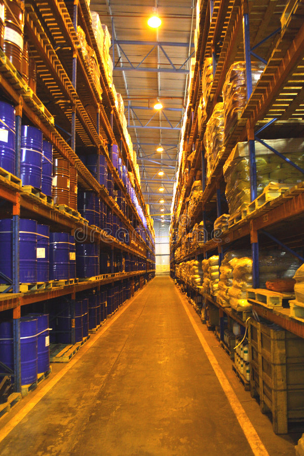 Large Warehouse Shelves Royalty Free Stock Photos