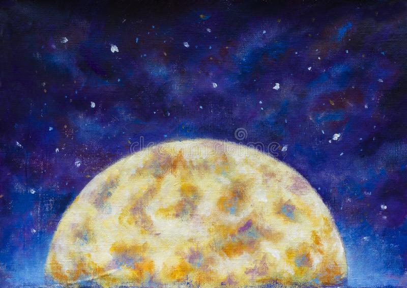 A large warm glowing moon in a blue violet starry space. royalty free illustration