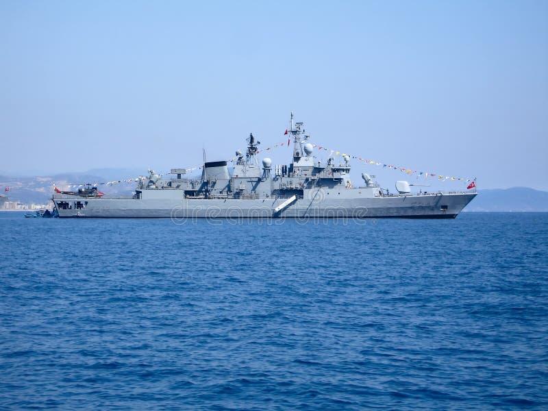 Large warship on harbour raid royalty free stock photo