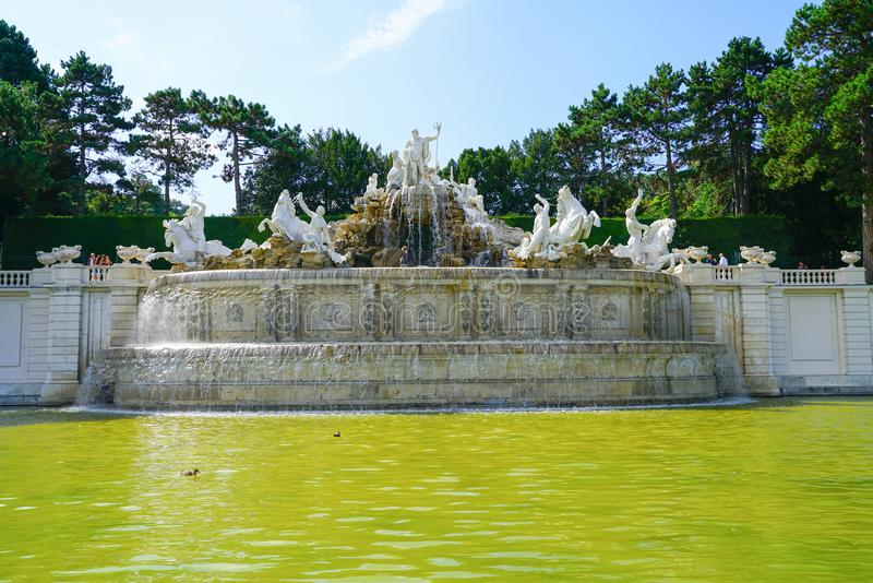 Large water feature white statues and fountain in grounds of Sc stock photo