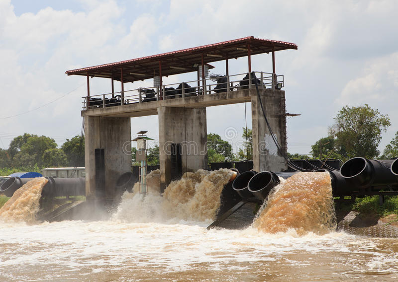 Download Large Water Pipe Pump Flood Water And Drain Stock Photo - Image: 27052672