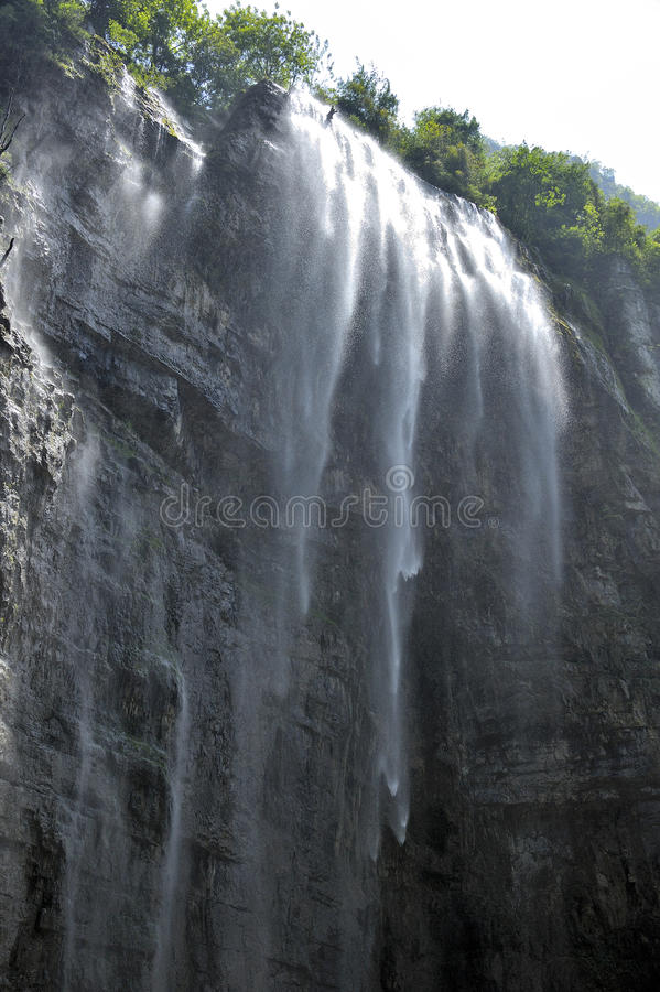 Large waterfall Three Gorges stock photos