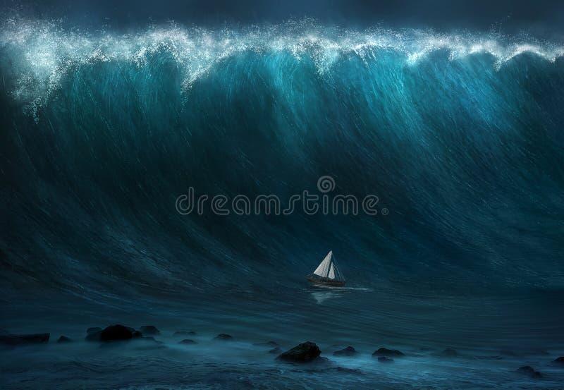Large wave stock illustration