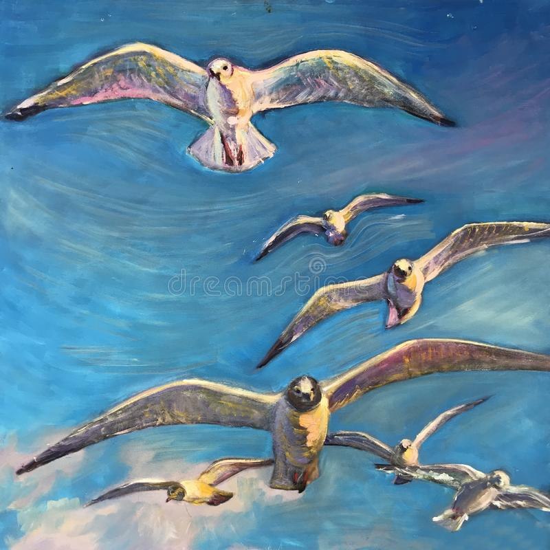 Large white birds fly across the sky. Wide open wings. A sea gull flies past a blue sky above the water. Symbol of freedom peace in the world. Realistic art stock illustration