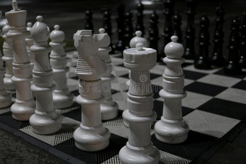 Large white and black chess pieces z. Large white and black chess pieces stock photography