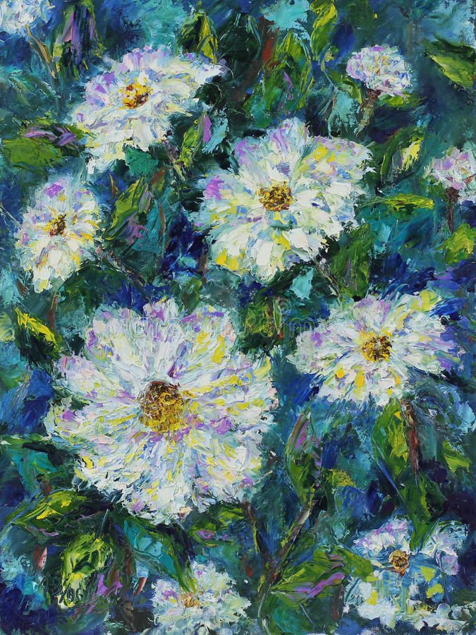 Large white field summer flowers, oil painting. Original oil painting large white field summer flowers on canvas. Impasto artwork. Impressionism art stock illustration