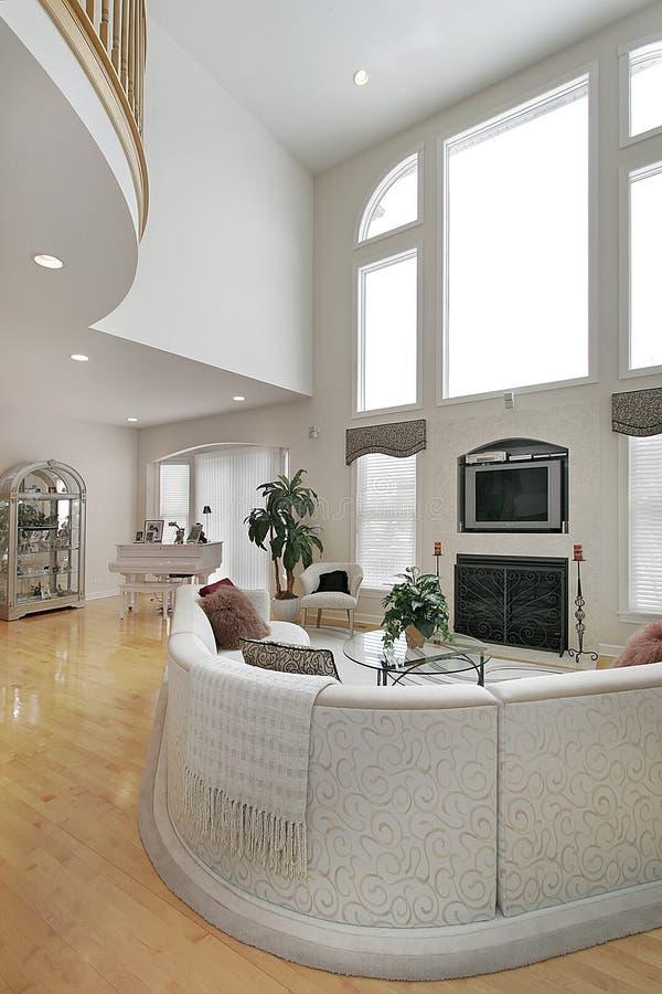 Large white living room stock photo