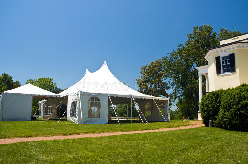 Large white party tent royalty free stock photos