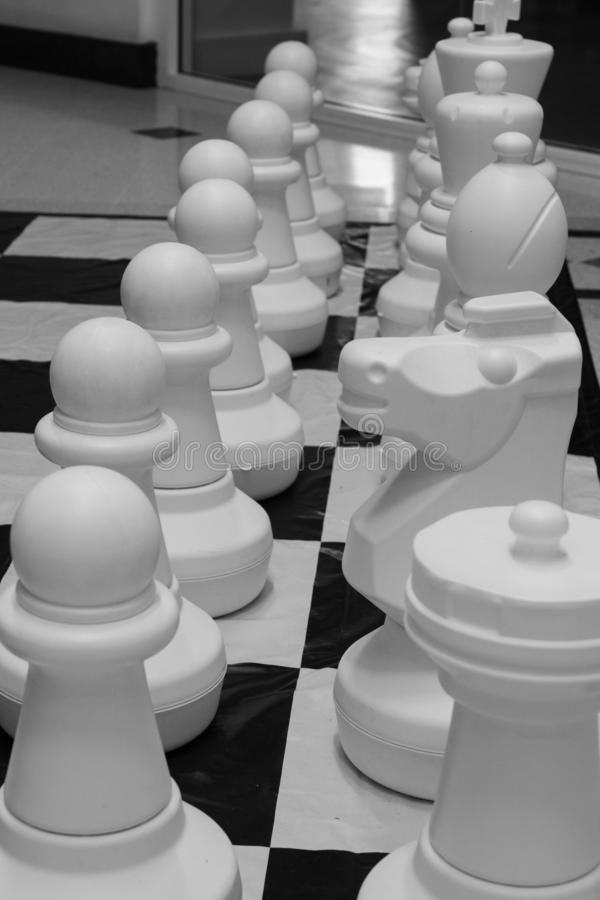 Large White Plastic Chess Pieces. Large ornamental plastic white Chess Pieces on a Chess board royalty free stock images