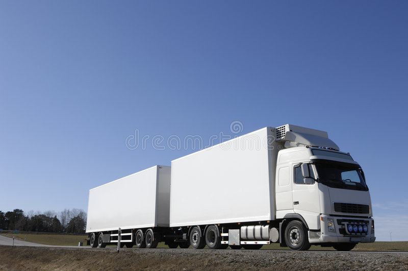 Large white truck on country-r stock photography