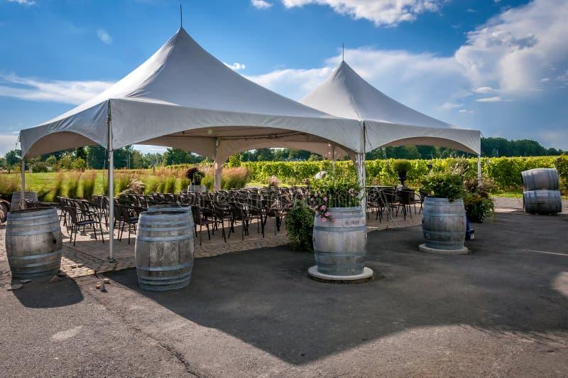 Large white wedding tent stock photos
