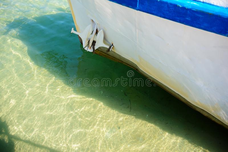 The large white yacht in the port royalty free stock photo