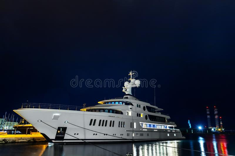 The large white yacht in the port royalty free stock images