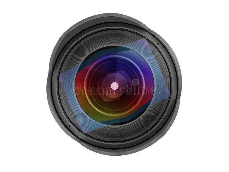 Large wide angle photo lens front view isolated with clipping pa royalty free stock images
