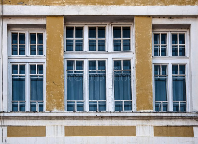 Large window in the old building stock photography