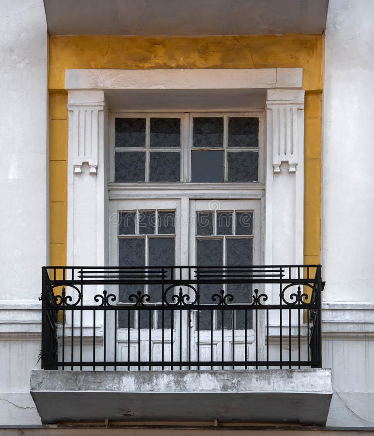 Large window in the old building royalty free stock photo