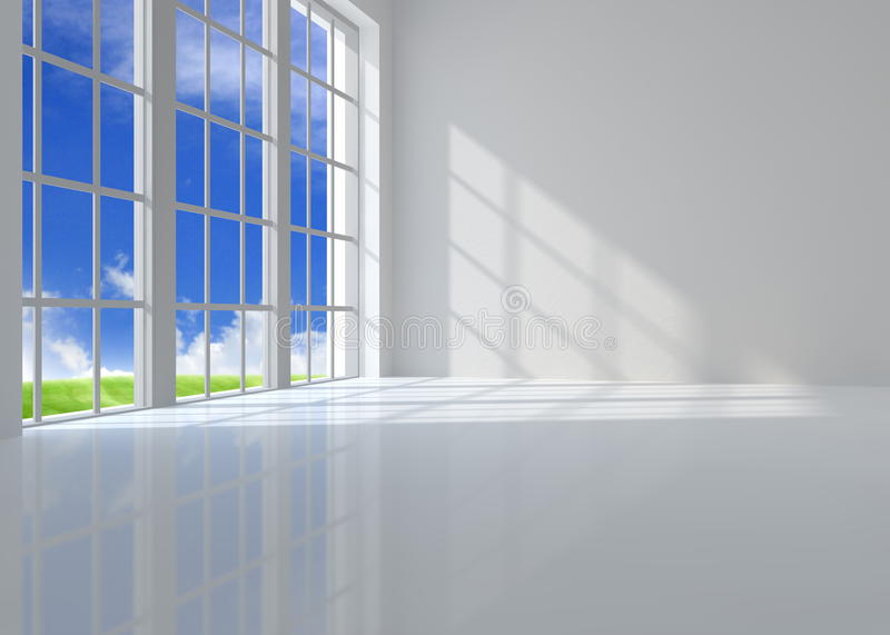 Large window. Room illuminated by sunlight royalty free illustration