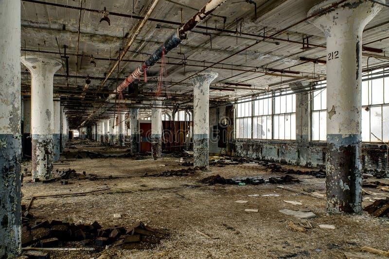Large Windows & Columns - Abandoned National Acme Factory - Cleveland, Ohio royalty free stock image