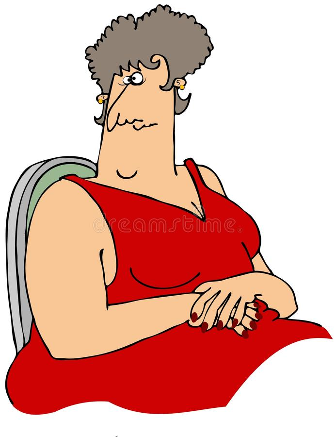 Download Large woman in a red dress stock illustration. Image of dress - 33600733