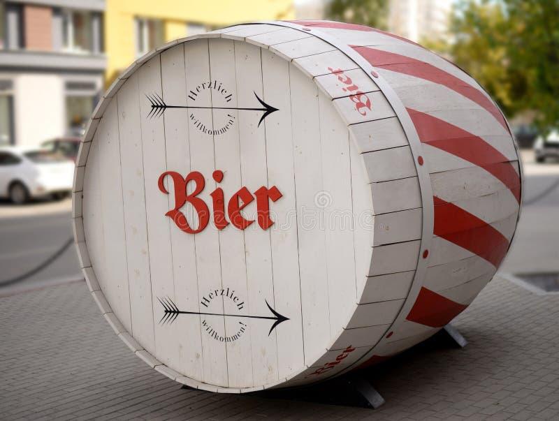 Large wooden barrel for beer. Large wooden barrel cask for beer stock photos