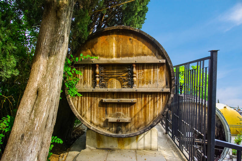 Large wooden barrel. For wine on a summer day, Crimea royalty free stock images
