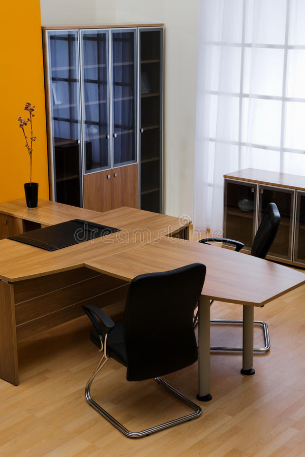 Large wooden table stock image