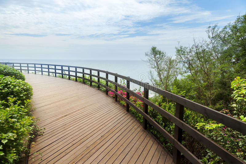 Large wooden terrace with seascape stock photo