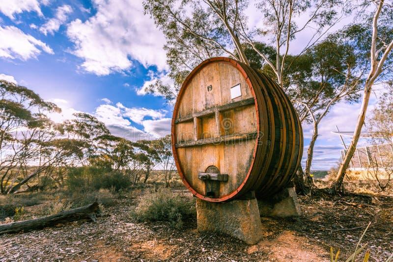 Large wooden wine barrel,. Large wooden wine barrel in South Australia wine region stock photo