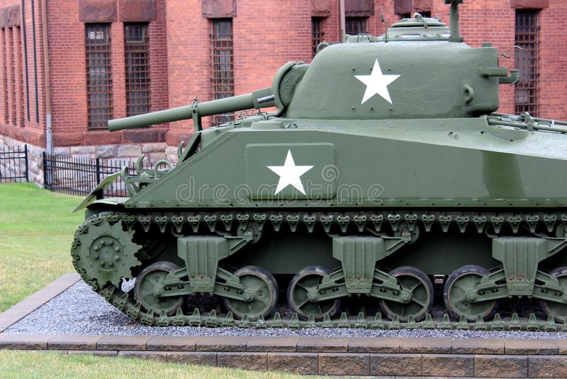 Large WWII era Sherman tank on display, set on outside pedestal, Military Museum, Saratoga, New York, 2018 royalty free stock photo