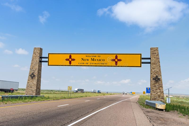 Welcome to new mexico sign bordering texas and new mexico royalty free stock image