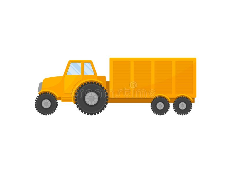 Big yellow tractor with a cart. Vector illustration on white background. Large yellow tractor pulls a cart. Vector illustration on white background stock illustration