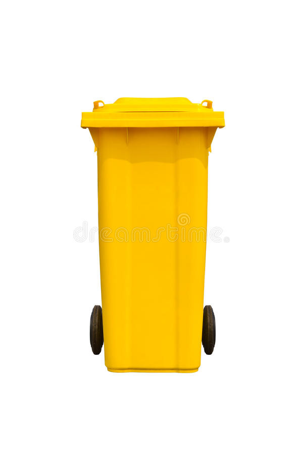 Large yellow trash can royalty free stock image