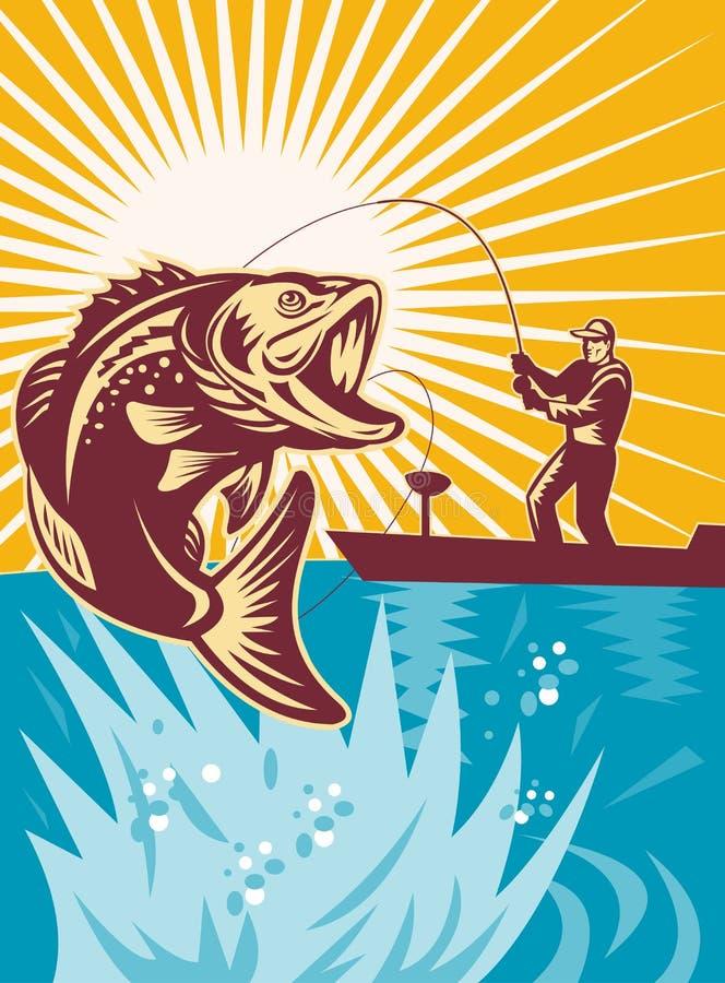 largemouth bas- fiske vektor illustrationer