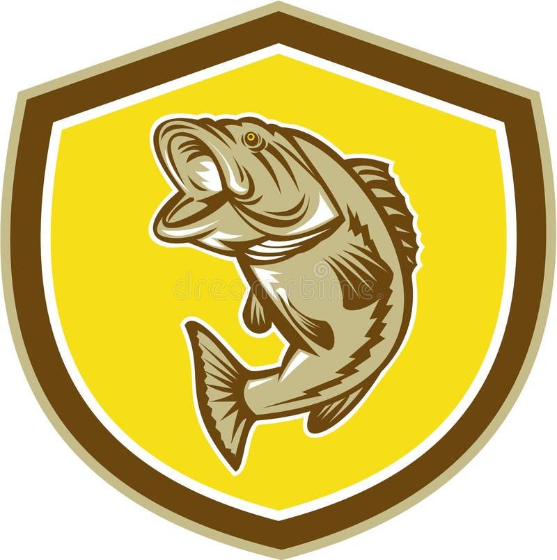 Largemouth Bass Jumping Shield Retro royalty free illustration