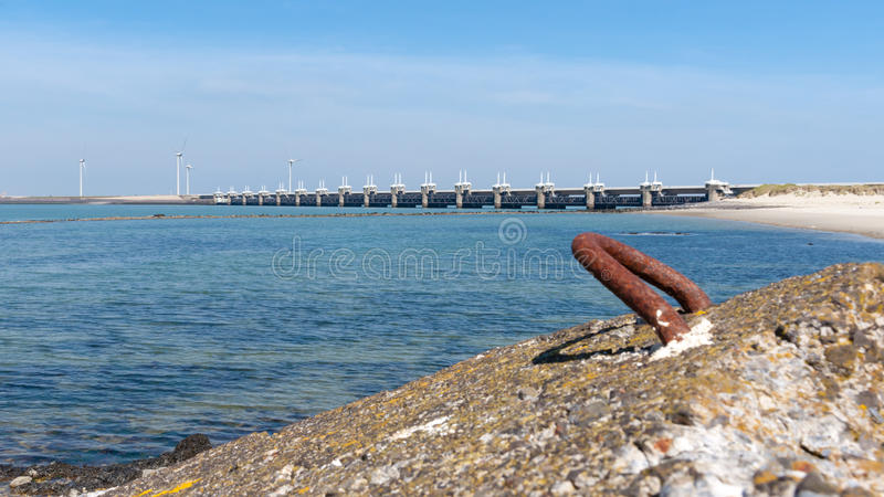 Largest architectural edifice of the Netherlands, Delta works. The storm surge barrier Oosterschelde nearby Neeltje Jans in The Netherlands royalty free stock image