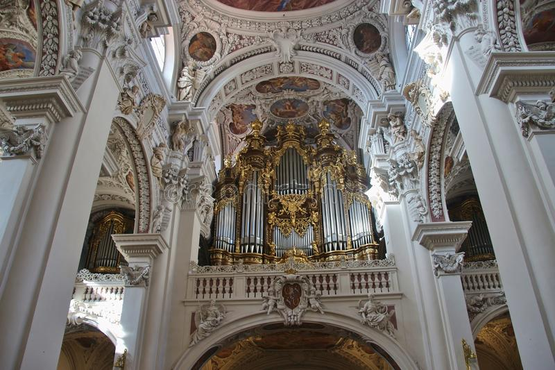 The largest cathedral organ in the world, St. Stephen`s cathedral, Passau, Germany. royalty free stock photos