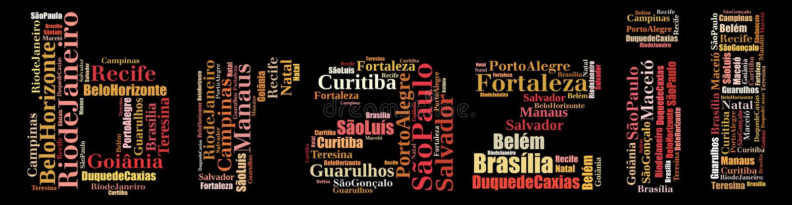 Largest cities or towns of Brazil info-text graphics. And arrangement concept (word cloud) on black background stock illustration