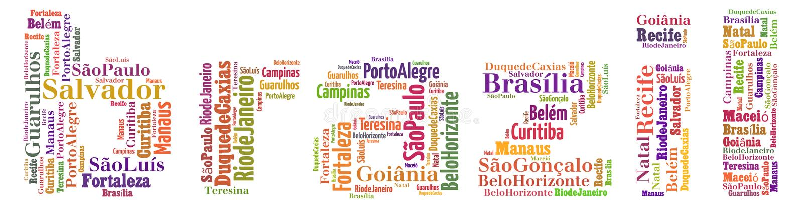 Largest cities or towns of Brazil info-text graphics. And arrangement concept (word cloud) on white background royalty free illustration