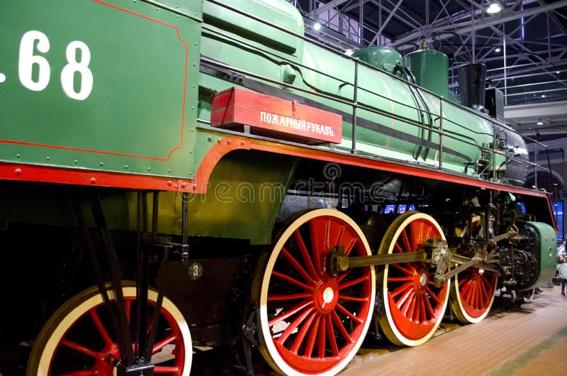 The largest museum of railway equipment in Russia. Fragment of the exposition of steam locomotives stock images
